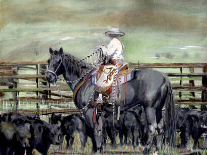 Caitlyn in the Cattle Yard, Wildlife Artist Penny Winn, Madrid New Mexico, Watercolor Painting