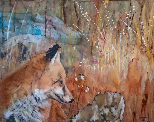 Fox Portrait, Wildlife Artist Penny Winn, Madrid New Mexico