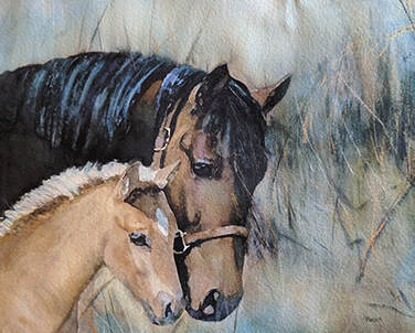 Walking in the Grass, Equine Painting, Watercolor Artist, artist Penny Winn, Madrid New Mexico, wildlife artist